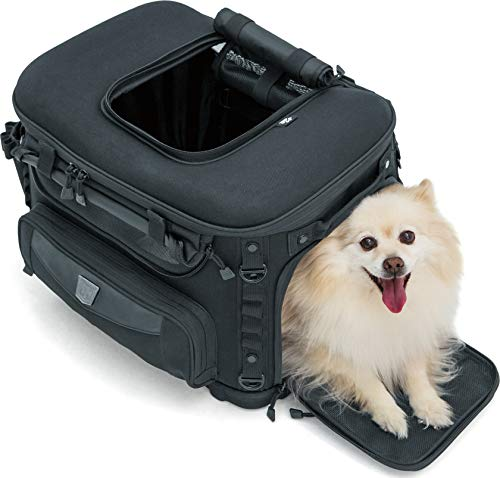 Kuryakyn 5288 Grand Pet Palace: Portable Weather Resistant Motorcycle Dog/Cat Carrier Crate for Luggage Rack or Passenger Seat with Sissy Bar Straps, Black