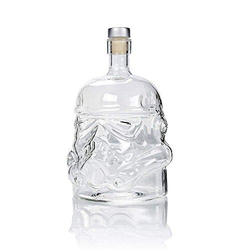 Botella De Cristal del Cráneo De La Forma del Cráneo del Pirata 750Ml/Whisky del Vino De La Botella de 0,75 litros, Botella De Cristal
