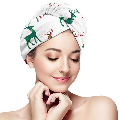 Toalla de pelo de microfibra abrigo de reno a cuadros toalla turbante de pelo súper absorbente rápido secado gorras sombrero