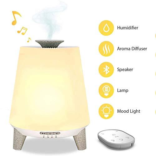 HMDJW Luftbefeuchter Schlafzimmer, Ultraschall-Luftbefeuchter mit Fernbedienung, 7 Farbe Fernbedienung Bluetooth Lullaby und White Noise Kinder-Nachtlicht