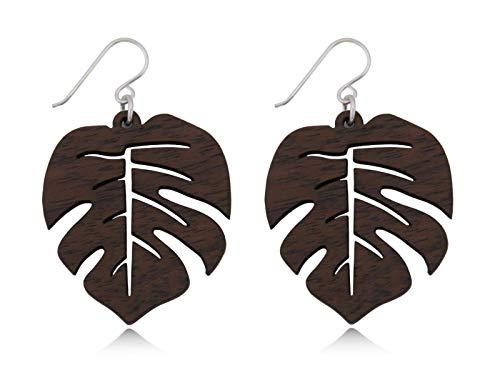 Nature Rebel Pendientes de madera para mujer, diseño de hojas de madera, ganchos de plata 925