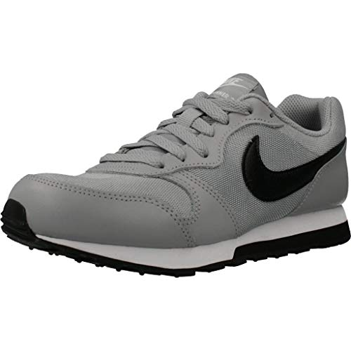 Nike MD Runner 2 (GS), Running Shoe, Wolf Grey/Black/White, 38 EU