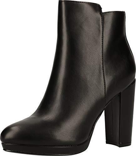 Buffalo Damen Stiefeletten Melinda, Frauen Ankle Boots, halbstiefel knöchelhoch reißverschluss Lady Ladies feminin,Schwarz(Black),39 EU / 6 UK
