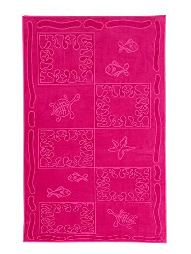 SO MY HOME - Toalla de playa de terciopelo, algodón puro, talla XXL 100 x 200 cm, diseño de tortugas, algodón (Fuschia)