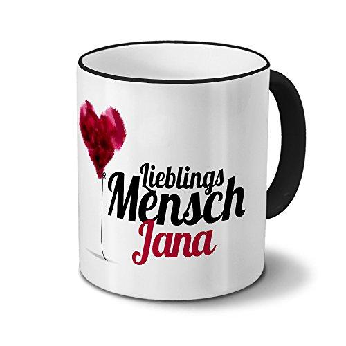 printplanet Tasse mit Namen Jana - Motiv Lieblingsmensch - Namenstasse, Kaffeebecher, Mug, Becher, Kaffeetasse - Farbe Schwarz