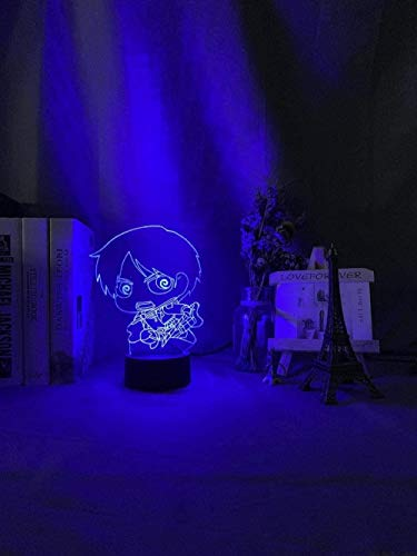 GEZHF 3D Illusion Night Light for Kids with Remote Kids Night Light Eren Yeager Chibi Figure Nightlight for Bedroom Decor Light Cool Birthday Gift for Child Room Table 3D Lamp USB -7 Colors + Touch