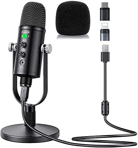 Micrófono USB, Aveek Condensador grabación micrófono con Silencio y Eco para Ordenador portátil, Mac Phone Studio, transmisión de transmisión y Juego