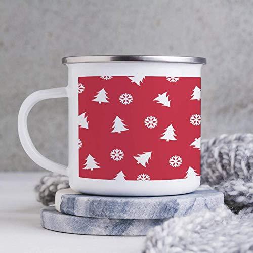 Merry Christmas Tree - Tazas de copo de nieve rojas de 10 oz, tazas de hojalata esmaltadas para fogatas, tazas de café esmaltadas, tazas de té, tazas mentales para acampar para papá, mamá, amigos, Nav