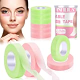 6 Rolls Lash Extension Tape,INFILILA Eyelash Extension Tape Lash Tape For Eyelash Extension Adhesive Breathable Micropore Fabric lash Tape for Sensitive Skin Green & Pink (0.5 inch x 10 Yards)