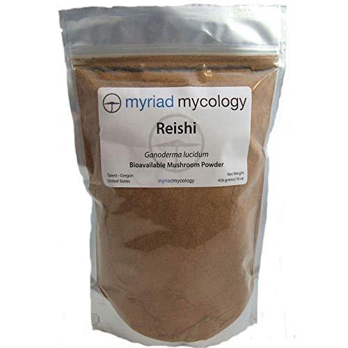 Myriad Mycology Reishi Mushroom Powder 16oz or 1lb, Made in USA / Ling Zhi, 456g