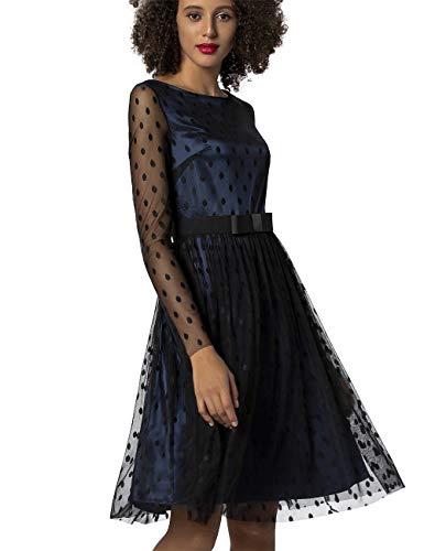 APART Fashion Damen APART Elegantes, Cocktailkleid, mit transparenten Mesh-Ärmeln, schwarz, ausgestellte Form Kleid für besondere Anlässe, Nachtblau, 34