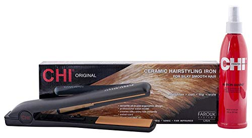 "CHI Original Ceramic 1"" Straightening Hairstyling Iron with Iron Guard Thermal Protection Spray, 1 Set"