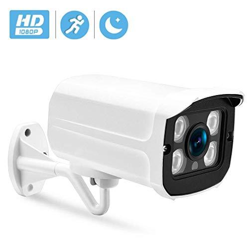 WYJW Überwachungskamera-Set 1080P Full HD 4-Kanal-NVR 4X-Kameras 2,0 MP Videoüberwachung Außen Indoor wasserdichte Überwachungskamera Nachtsicht-Bewegungsmelder, Zwei-Wege-Audio