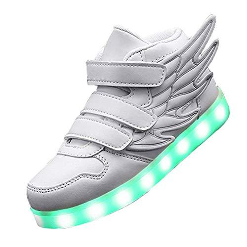 Kids'LED Mode Schuhe Light up Turnschuh-Trainer mit Flügeln 7 Farben Blinklicht für Jungen-Mädchen-Geschenk-Hoch-Spitze Turnschuhe USB-Gebühr,Weiß,30