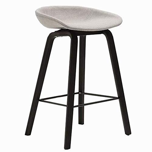 Bureaustoel barkruk eenvoudige moderne keukenstoel linnen ergonomisch design hocker gemaakt van hout zwart meubels zithoogte 65/75 cm (donkergrijs, Dimensio 65CM Lichtgrijs