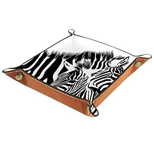 Zebra4 - Vassoio per gioielli in microfibra, quadrato, per comodino, organizzatore per orecchini, collane, gioielli, espositore