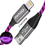 iPhone Charger Cable, Oliomp (Apple MFi Certified) 3ft LED Light Up Visible Flowing Lightning Cable iPhone Charging Cord for Apple iPhone 11 Pro Max XS XR X 8 7 6S 6 Plus SE 5S 5C 5 iPad (3ft, Purple)