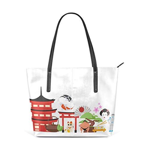 XGBags Custom Borsa a tracolla in pelle PU da donna Womens Purse Japanese Traditional Objects PU Leather Shoulder Tote Bag