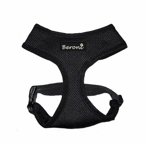 Beroni Katzengeschirr Softgeschirr VERSTELLBAR Geschirr für Katzen schwarz Halsumfang von 25 cm - 30 cm, für einen Brustumfang von 30 cm - 43 cm