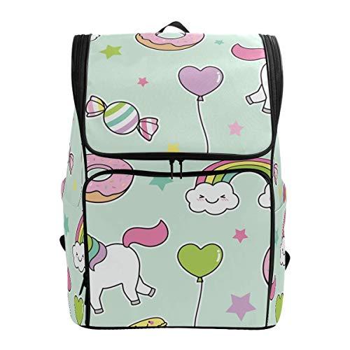 Laptop Rugzak Cartoon Eenhoorn Regenboog Donut Ballon Candy Licht Groen Grote Capaciteit Tas Reizen Daypack