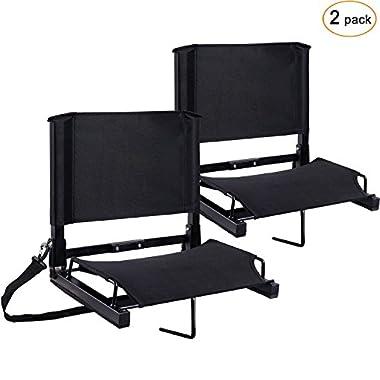 Ohuhu Stadium Seats Bleacher Chairs Seat with Backs and Cushion, Folding & Portable, Bonus Shoulder Straps, 2 Pack