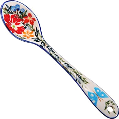 Polish Pottery Ceramika Boleslawiec,  1022/238, Spoon Medium, 1 1/4 by 6 1/8 Inches Long, Royal Blue Patterns with Red Cornflower and Blue Butterflies Motif