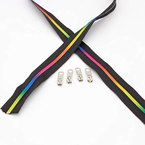 Brittschens Stoffe und Zutaten Reissverschluss endlos Regenbogen NEON Reißverschluss endlos 3mm Schiene + 4 Zipper