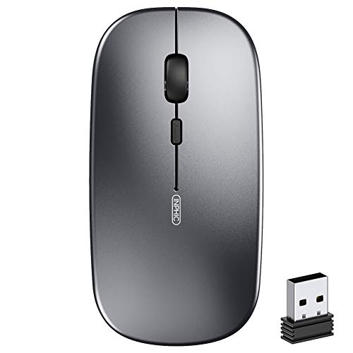 Wireless Mouse,Inphic Slim Rechargeable Mouse Silent Click 2.4G Wireless Mice 1600DPI Mini Optical Portable Travel Cordless Mouse with USB Receiver for PC Laptop Computer Mac MacBook (Grey)
