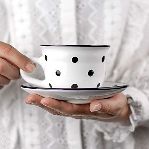 Handmade White And Black Polka Dot Ceramic 9oz/250ml | Cappuccino, Coffee, Tea Cup and Saucer, Unique Designer Pottery for Tea Lovers by City to Cottage