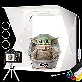 Caja de luz para fotografía de 40 cm con Soporte para trípode Caja de luz para Estudio fotográfico Kit de Carpa para sesión fotográfica Plegable con 160 Piezas de Cuentas de lámpara LED