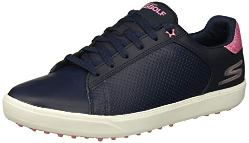 Skechers Damen Spikeless Waterproof Golf Shoe Drive 4, Golfschuhe ohne Spikes, wasserdicht, Navy/Pink, 40 EU