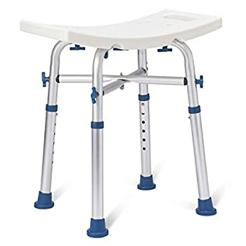 Zler Heavy Duty Shower Chair 500lb Adjustable Height Bath and Medical Tool Free Anti-Slip Shower Bench Bathtub Stool Seat for Elderly Senior Handicap & Disabled