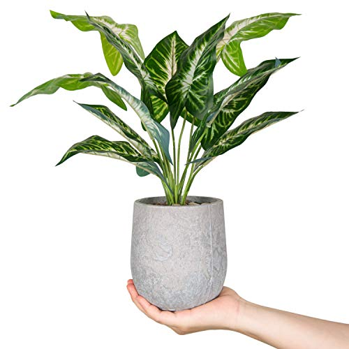 "Der Rose 16"" Small Fake Plants Artificial Potted Greenery Plant for Office Desk Home Bathroom Decor"