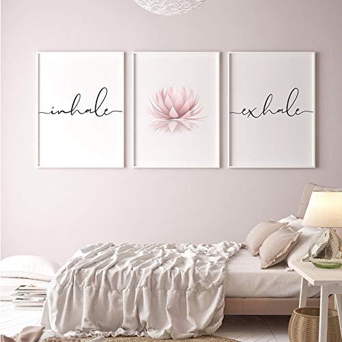 KELEQI Inhale Exhale Imagen de póster en Blanco y Negro Lienzo Minimalista Arte de Pared Pintura con Estampado de Flores de Loto Decoración de habitación nórdica (50x70cm) X2 Sin Marco