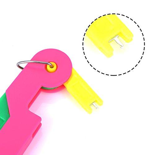 4 Piezas Enhebrador de Agujas Gu/ía de Enhebrar Dispositivo de Gu/ía con Instrucci/ón y 30 Piezas Agujas de Coser a Mano Variadas Agujas de Ojo Grande