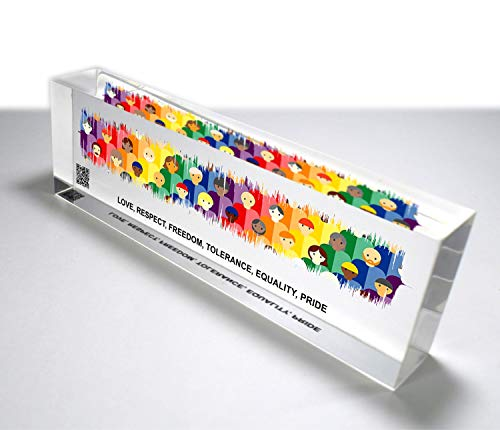 OOCLAS LGBT Sound Wave Print, LGBTQ Colorful 3D Look Soundwave Gift, Personalized Soundwave Art, Acrylic Song Soundwave Glass Block, LGBT Gift Size (8 X 2.50 X 1.25 Inches)