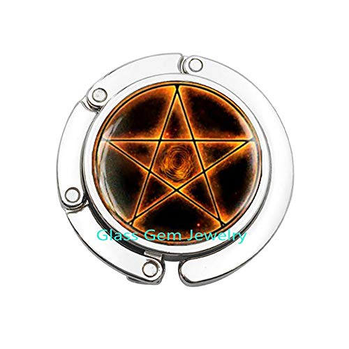 Fire Pentagram Purse Hook, Pentagram Bag Hook, Pentacle Bag Hook, Pentacle Purse Hook, Pentagram Jewelry, Occult Wiccan Purse Hook, Men's Purse Hook ,Q0020