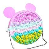 """ruixin - borsetta a tracolla """"fidget bubble"""", in silicone, motivo arcobaleno, antistress, per bambini"""
