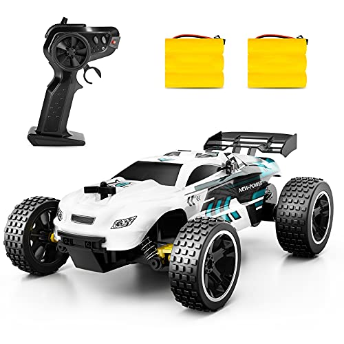 Sinovan RC Buggy Racing Car Kids RC Car, 2.4Ghz High Speed Remote Control Car, 1:18 2WD Toy Cars Buggy for Boys & Girls with Two Rechargeable Batteries for Car, Gift for Kids (White)