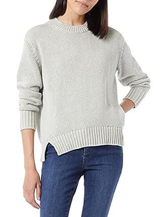 Marca Amazon - Daily Ritual - Jersey de punto grueso hecho de algodón 100 % con manga larga y cuello redondo para mujer, Gris (Light Heather Grey Light Heather Grey), US S (EU S - M)