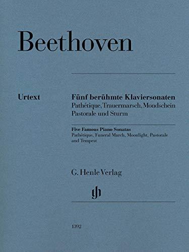 Fünf berühmte Klaviersonaten: Pathétique, Trauermarsch, Mondschein, Pastorale und Sturm: Klavier zu zwei Händen; Urtextausgabe