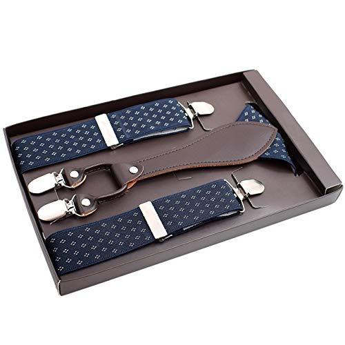 Ballylelly Cinturón de Tirantes de Moda para Hombre con 4 Clips de Acero Correas Ajustables de Jacquard Tirantes de Moda con Espalda en Y para cinturón de Pantalones