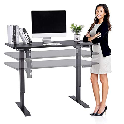 Höhenverstellbarer Schreibtisch Elektrisch, 120x60cm, Ergonomischer Steh-Sitz-Schreibtisch Mit Memory Steuerung, Max Belastung bis 80kg (Schwarz)