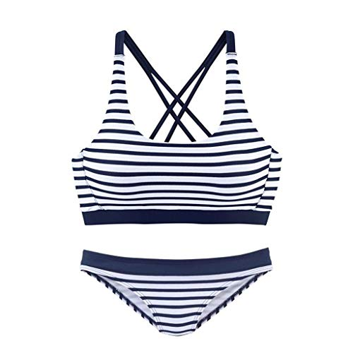 YOYOHO Conjunto de Bikini Sexy para Mujer Traje de baño sin Espalda con Tiras Cruzadas Ropa de Playa con Rayas de Tiro bajo - M # Azul Marino + Blanco