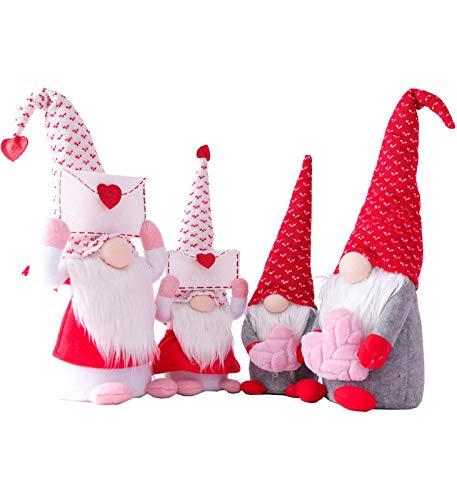 4pcs Deko Valentinstag Wichtel Figuren Plüschpuppen Valentinstag Puppe - Holiday Decor Saisonale Dekorationen - Plüsch Figur für Regal, Tisch, Küche, Schreibtisch Dekor