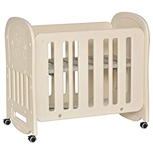 Qaba Multi-Functional Toddler Bed Baby Crib with an Adjustable Height, 4 Detachable Lockable Wheels