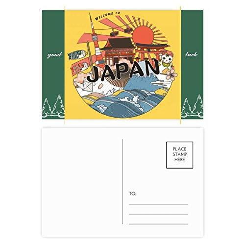 Juego de 20 postales japonesas tradicionales de la buena suerte con carcasa de la cultura Edo