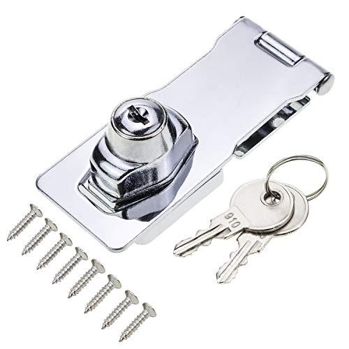 HSEAMALL Cerrojo con cerrojo con llave de 4 pulgadas Cerrojo con cerrojo con llave de metal con llaves para gabinetes de...