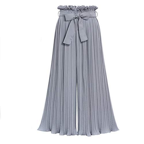 KPPONG Hose Damen Plissee Hosen Weite Beine Lange Hose breite Bein Culotte Freizeithosen Palazzo Hose mit Gürtel