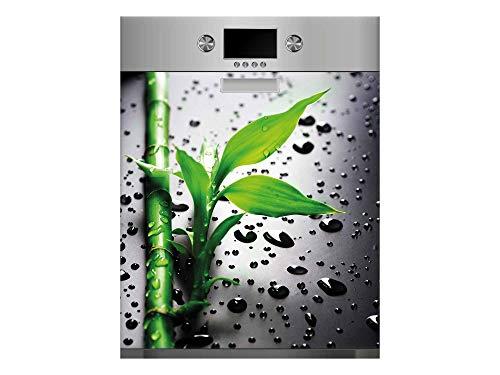Vinilo para Lavavajillas Rama Bambú Gotas Agua | Varias Medidas 65x75cm | Adhesivo Resistente y de Fácil Aplicación | Pegatina Adhesiva Decorativa de Diseño Profesional